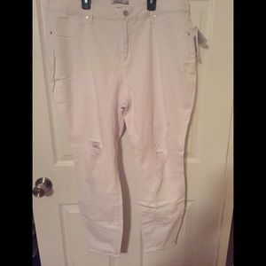 Distressed white skinny jeans!